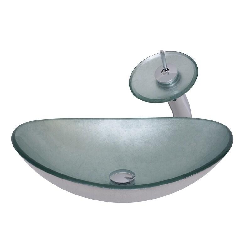 Novatto Argento Oval Glass Vessel Bathroom Sink Set, Brus...