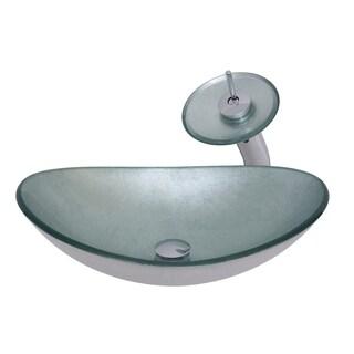 Novatto Argento Oval Glass Vessel Bathroom Sink Set, Brushed Nickel
