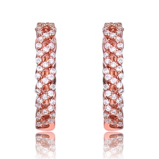 Collette Z Rose Gold Overlay Cubic Zirconia Braid Earrings