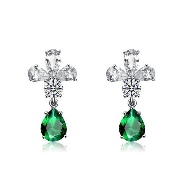 Collette Z Sterling Silver Cubic Zirconia Angel Earrings - Green