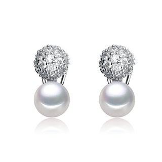 Collette Z Sterling Silver Cubic Zirconia Snow Pearl Earrings