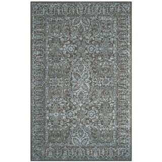 Safavieh Handmade Glamour Contemporary Blue/ Dark Grey Viscose Rug (2' x 3')
