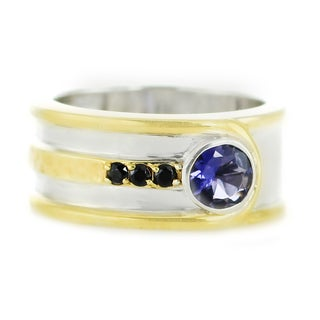 One-of-a-kind Michael Valitutti Palladium Silver Amethyst and Black Spinel Men's Ring