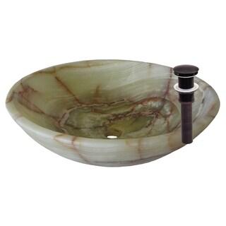 Novatto Green Onyx Vessel Sink and Oil Rubbed Bronze Umbrella Drain