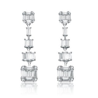 Collette Z Sterling Silver Cubic Zirconia Pyramid Earrings