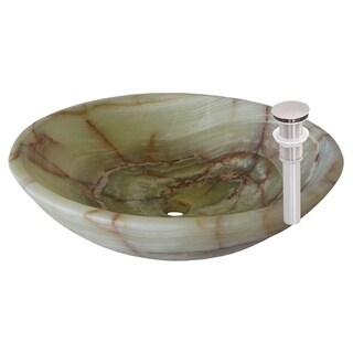 Novatto Green Onyx Vessel Sink and Brushed Nickel Umbrella Drain