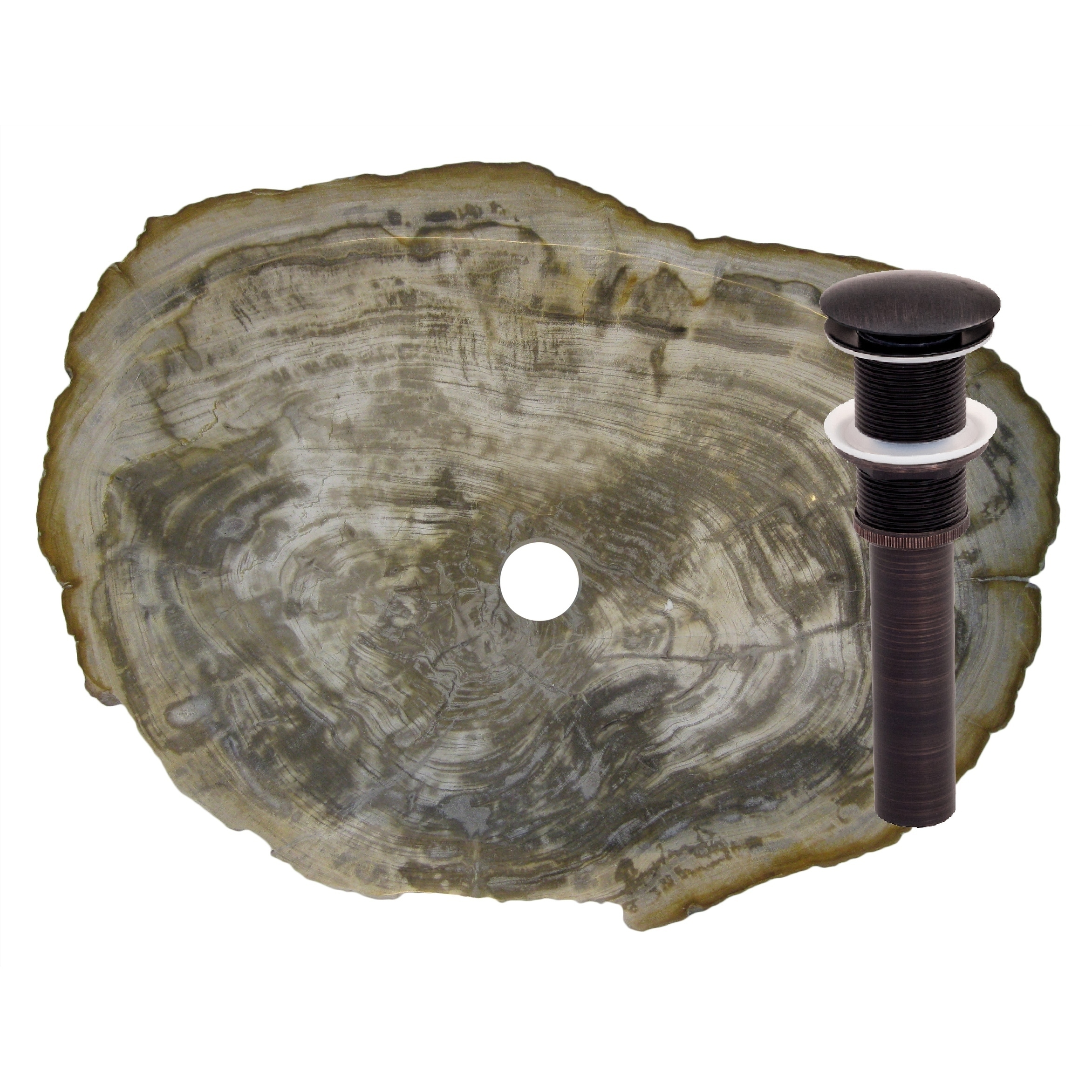 Novatto Fossil Wood Vessel Sink and Oil Rubbed Bronze Umb...