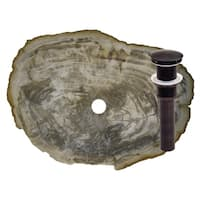 Novatto Fossil Wood Vessel Sink and Oil Rubbed Bronze Umbrella Drain