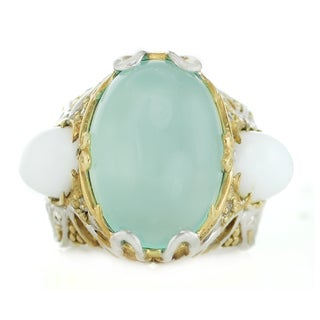 One-of-a-kind Michael Valitutti Palladium Silver Aquamarine Color Chalcedony, Opal and White Sapphire Ring