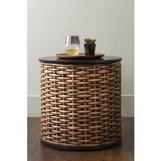 East At Main's Concord Brown Rattan Round Accent Table