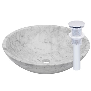 Novatto Carrera White Marble Vessel Sink and Chrome Umbrella Drain