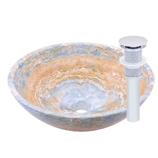Novatto Blue Onyx Vessel Sink and Chrome Umbrella Drain