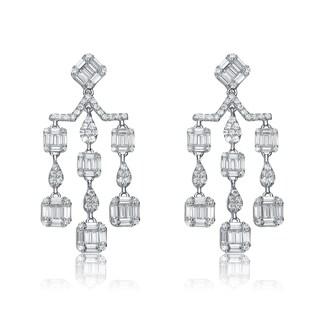 Collette Z Sterling Silver Cubic Zirconia Scale Earrings