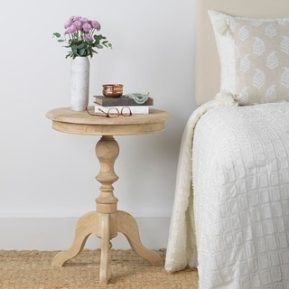 East At Main's Blackford Brown Rubberwood Round Accent Table