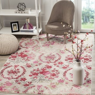 Safavieh Monaco Vintage Floral Bouquet Ivory / Pink Distressed Rug (2' 2 x 4')