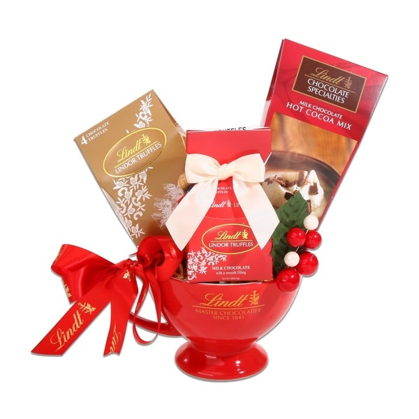 Alder Creek Gift Baskets Lindt Red Mug Gift Set