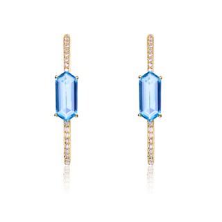 Collette Z Gold Overlay Blue Cubic Zirconia Hexagon Earrings
