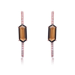 Collette Z Rose Overlay Smokey Topaz Cubic Zirconia Hexagon Earrings
