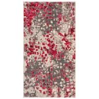 Safavieh Monaco Abstract Grey / Fuchsia Pink Distressed Rug (2' 2 x 4')
