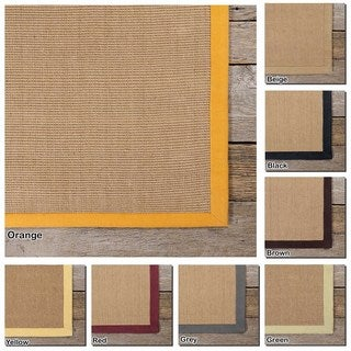 Artist's Loom Hand-Woven Casual Border Pattern Sisal Rug (8'x10')
