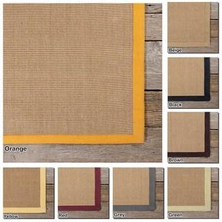 Artist's Loom Hand-Woven Casual Border Pattern Sisal Rug (8'x10') - 8' x 10'