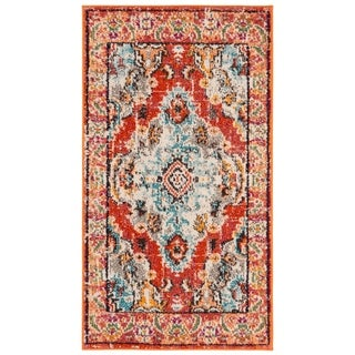 Safavieh Monaco Bohemian Medallion Orange/ Light Blue Distressed Rug (2' 2 x 4')