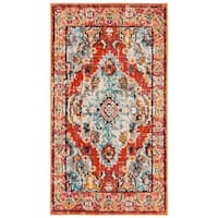 Safavieh Monaco Bohemian Medallion Orange/ Light Blue Distressed Rug - 2'2 x 4'