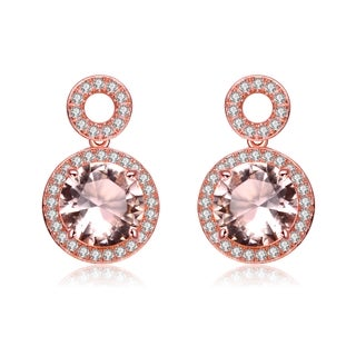 Collette Z Rose Gold Overlay Cubic Zirconia Double O Earrings