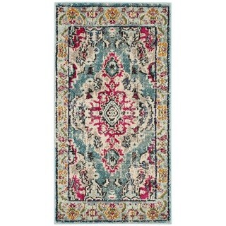 Safavieh Monaco Vintage Boho Medallion Light Blue/ Fuchsia Rug - 2'2 x 4'