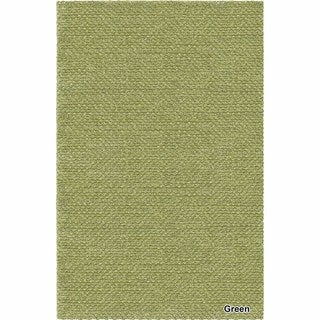 Artists Loom Hand-Woven Contemporary Solid Pattern Shag Rug (79x106) (Green)