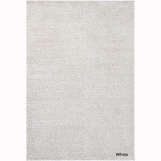 Artists Loom Hand-Woven Contemporary Solid Pattern Shag Rug (79x106) (White)