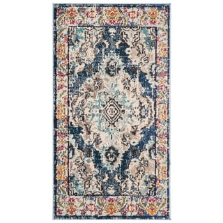 Safavieh Monaco Bohemian Medallion Navy / Light Blue Distressed Rug (2' 2 x 4')