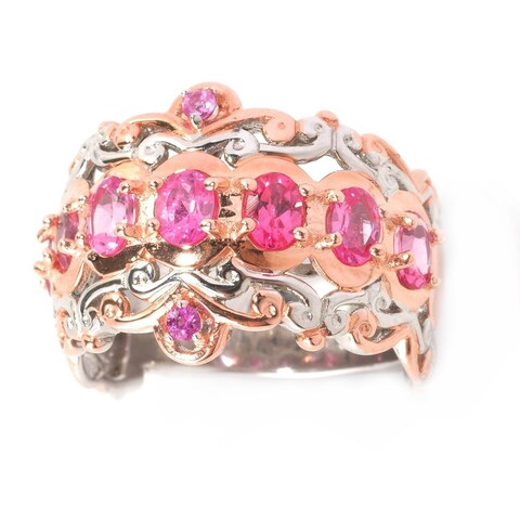 Michael Valitutti Palladium Silver Tanzanian Pink Spinel and Pink Sapphire Ring