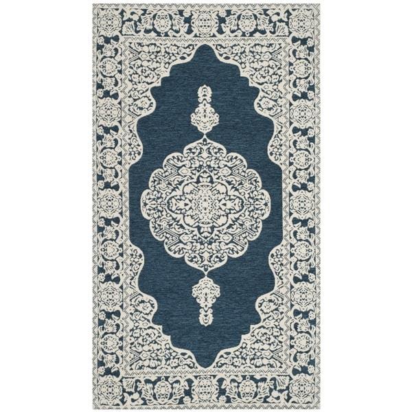 Safavieh Hand Woven Marbella Flatweave Dark Blue Ivory Chenille Rug 2 X27