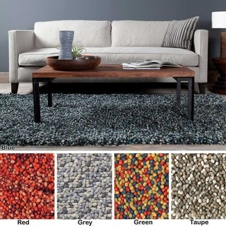 Artist's Loom Hand-Woven Contemporary Solid Pattern Shag Rug (9'x13') - 9' x 13'