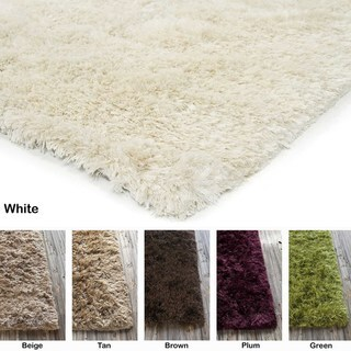 """Artist's Loom Hand-Woven Contemporary Solid Pattern Shag Rug (7'9""""x10'6"""")"""