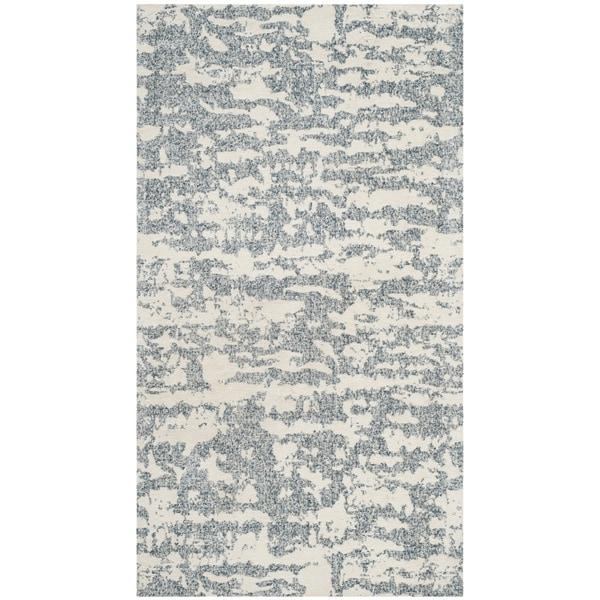 Safavieh Hand-Woven Marbella Flatweave Blue/ Ivory Chenille Rug - 2' x 4'