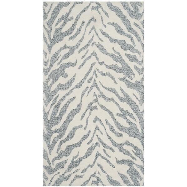 Safavieh Marbella Handmade Contemporary Blue/ Ivory Wool Rug (2' 3 x 4') - 2' 3 x 4'