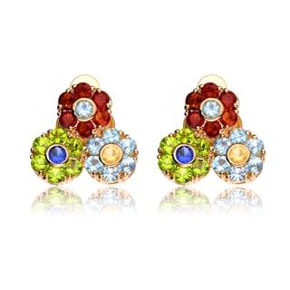Collette Z Sterling Silver Cubic Zirconia Tri-Flower Earrings