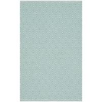 Safavieh Montauk Handmade Geometric Flatweave Ivory/ Aqua Cotton Rug - 2'6 x 4'