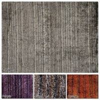 """Artist's Loom Hand-Woven Contemporary Solid Pattern Shag Rug (7'9""""x10'6"""") - 7'9 x 10'6"""