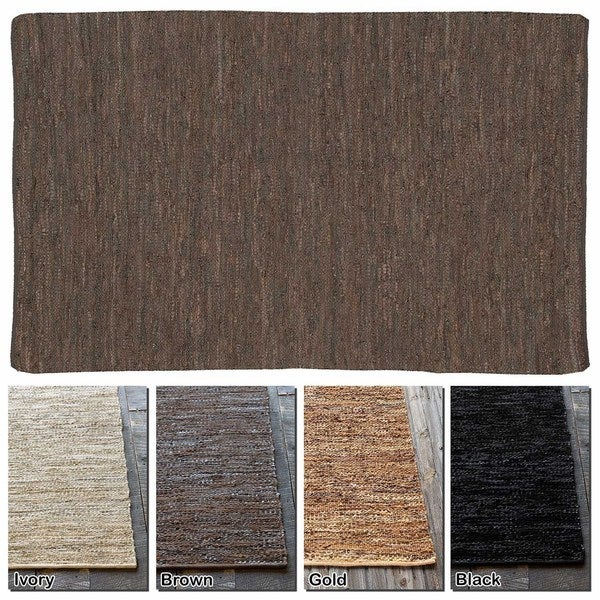Artist's Loom Flatweave Contemporary Solid Pattern Leather Rug (9'x13')