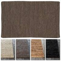 "Artist's Loom Flatweave Contemporary Solid Pattern Leather Rug (7'9""x10'6"")"