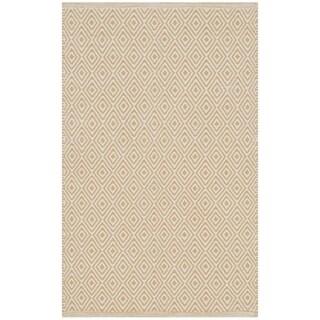Safavieh Montauk Handmade Geometric Flatweave Ivory/ Gold Cotton Rug (2' 6 x 4')