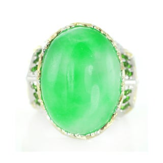 One-of-a-kind Michael Valitutti Palladium Silver Green Jade and Emerald Cocktail Ring