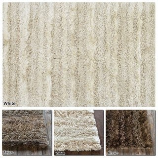 Artist's Loom Hand-Woven Contemporary Solid Pattern Shag Rug (9'x13')