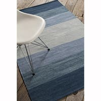 "Artist's Loom Flatweave Contemporary Stripe Pattern Cotton Rug (7'9""x10'6"")"
