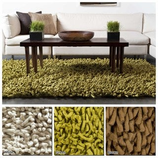 Artist's Loom Hand-Woven Contemporary Solid Pattern New Zealand Wool Shag Rug (9'x13')