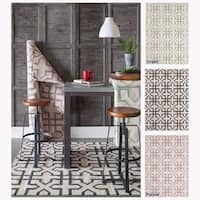 Artist's Loom Flatweave Contemporary Geometric Pattern Wool Rug (7'x10') - 7' x 10'