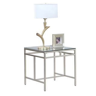 Progressive Genesis Clear/Silver-tone Glass/Steel Rectangular End Table